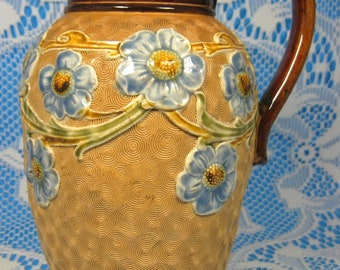 Edwardian Art Pottery Royal Doulton Jug Pitcher Circle Ware Applied Flowers M Holbrook 1902