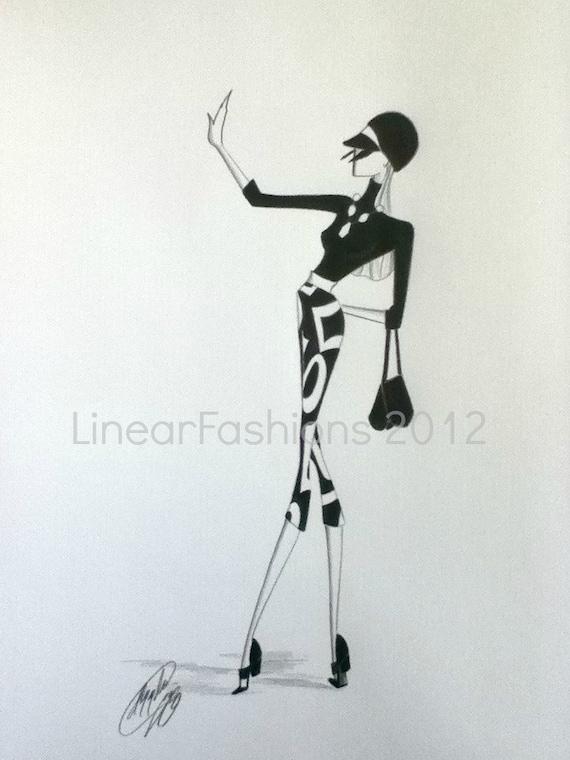 Fashion Illustration 1960s Mod Op Original Pencil Drawing Art Decor