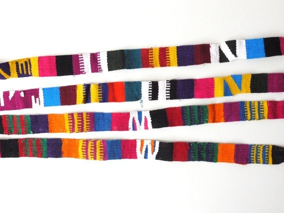 Tribal Pattern Fabric Trim, Straps, Colorful Woven Textile, Set of 2