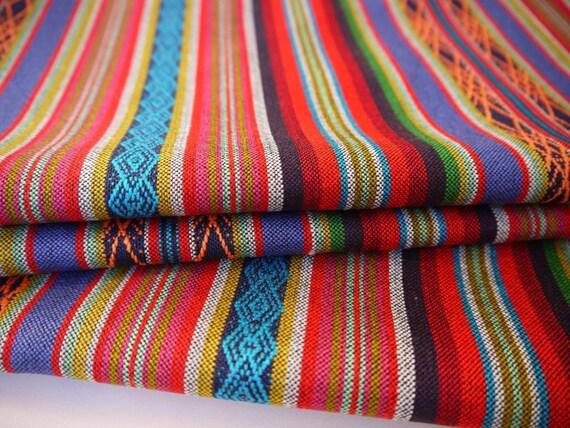 Tribal Fabric, Latin American Woven Fabric, Baja Colorful Stripes, 1 Yard