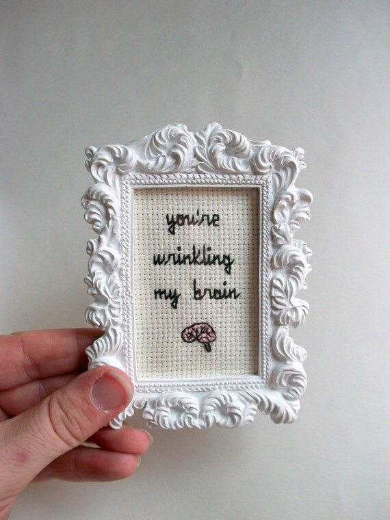 wrinkling my brain cross stitch completed cross stitch in small white ornate frame