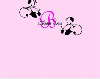 Girls Monogram Name Wall Vinyl - Girls Name Monogram Wall Decal