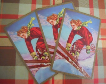 Rare Vintage Pin Up Playing Cards | Skiing Woman