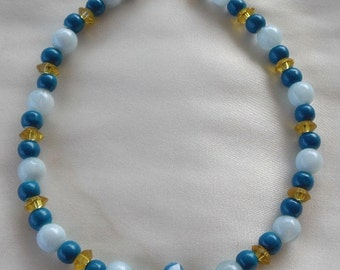 Dog Pet Necklace Collar Jewelry- Shades of Teal with Gold-Tones- Size Large