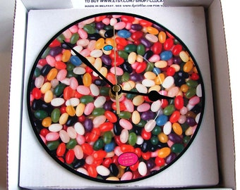 "JELLYBEAN Vinyl Record CLOCK made from recycled 7"" Picture Disc. For Jellybean lovers everywhere"