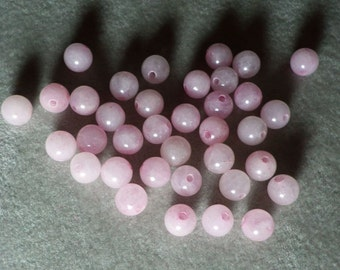 Pastel Pink Candy Jade Smooth Round Beads 6mm