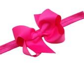 Hot pink bow headband - hot pink headband with matching 4 inch boutique bow - baby headband, newborn headband