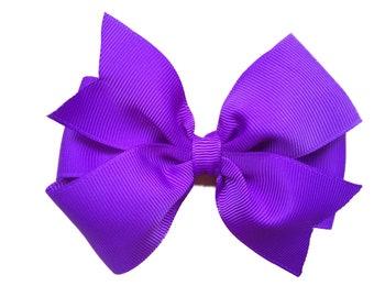 Purple hair bow - 4 inch purple bow, girls purple bow, pinwheel bows, girls hair bows, toddler bows, hair clip, girls bows, hair bows