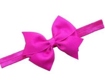 Hot pink bow headband - pink baby headband, toddler headband, newborn headband, bow headband, baby bow headband, pink headband, baby girl