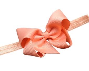 Peach headband with bow - peach baby headband, newborn headband, elastic headband, baby bow headband, baby girl headband, infant