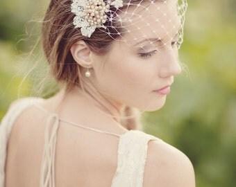 Persephone Vintage Brooch Headpiece and Wedding Veil