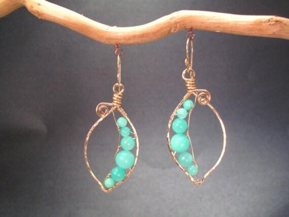 Hammered pea pod earrings with hemimorphite Bohemian 18