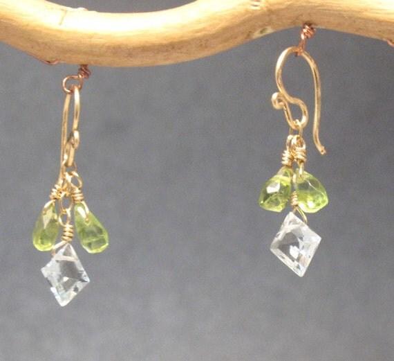 Peridot & blue topaz earrings Victorian 199