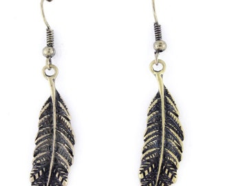 Vintage Feel Retro Gold-tone Small Feather Dangle Drop Earrings,O6