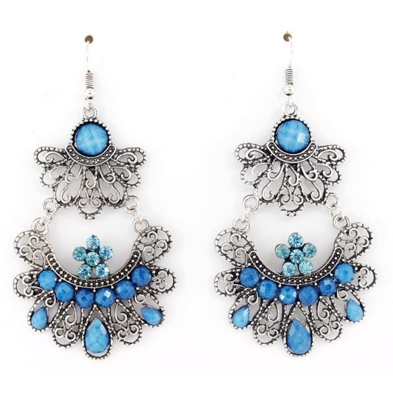 Silver-tone Blue Beaded Crystal Dangle Drop Earrings