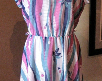Vintage 1970s Tropical Palm Tress Dress
