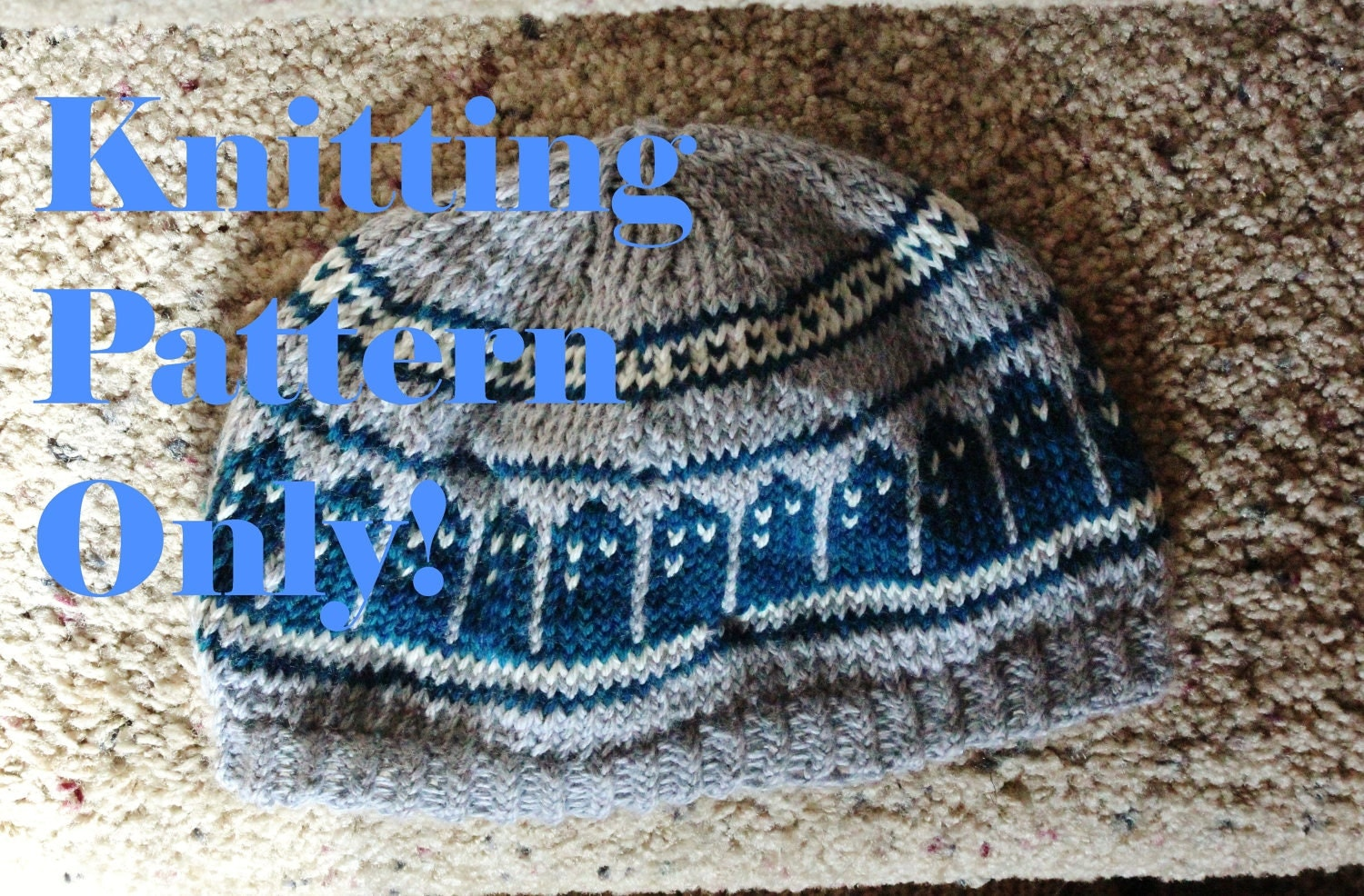 Knitting Pattern Tardis Hat : Pattern T.A.R.D.I.S. Slouch Beanie Doctor Who hat design