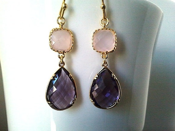 Purple Earrings, Pink Earrings,Gold Drop Earrings - Dangle Earrings,bridesmaid gifts,Wedding Earrings,christmas gift, cocktail jewelry