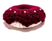 Crochet Pincushion white donut with boysenberry icing and sprinkles Handmade Pin cushion sale