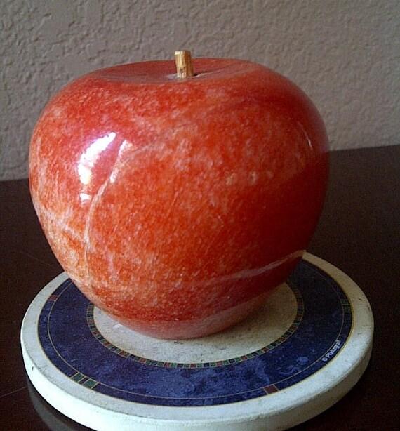 Red Alabaster Stone : Marble red apple alabaster stone vintage fruit