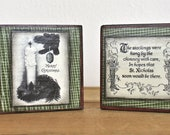 Christmas Home Decor red green set of two decoupaged wood blocks candle stocking art holiday wall decor
