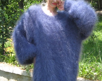 Light and fuzzy hand knit mohair sweater dress, slouchy style in denim blue by SuperTanya