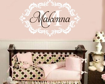 Vinyl Wall Decal Elegant Frame Monogram Initial and Name Shabby Chic Nursery Wall Decal