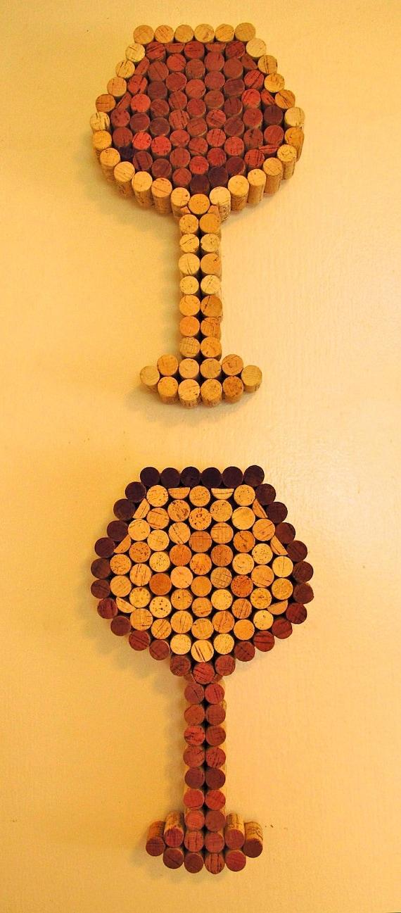 Items similar to wine cork wine glass art white wine for Cork art ideas