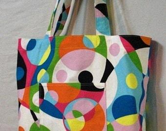 Simple handmade shopping bag - large tote bag - Bright Kaleidoscope