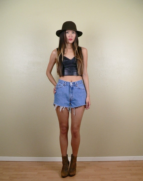 Levi's Mid High Waisted Denim Cut Off Jean Shorts