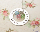 Personalized Mommy Necklace: Hand stamped sterling silver jewelry Family Circle of Love Washer