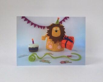 Happy Birthday Card Gold Lion animals zoo fun celebration party