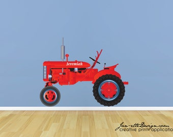 Farm Tractor Fabric Wall Decal, Tractor Wall Decal, Tractor Sticker, Farm Wall Art