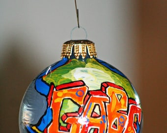 Graffiti Name Personalized Christmas Holiday Ornaments - Made to Order - Any name