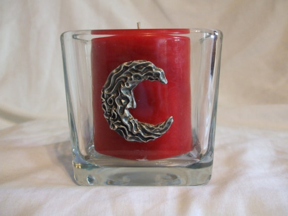 Hand crafted pewter cresent moon man in the moon candleholder