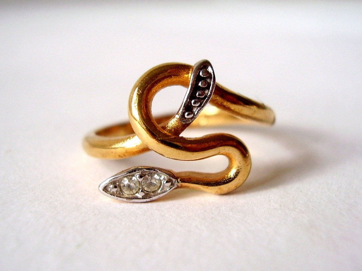 vintage serpent ring 18k gold plate rattle snake by
