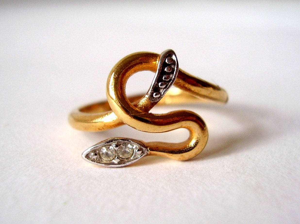 Vintage Serpent Ring 18k Gold Plate Rattle Snake Ring With