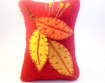 Needlecraft pincushion Autumn Leaves, felt pin cushion, fall