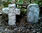 Miniature Graveyard, Dollhouse Tombstone, Cross, Cemetery, Tombstone, Concrete Garden Decoration, Halloween Decorations, Garden Decor