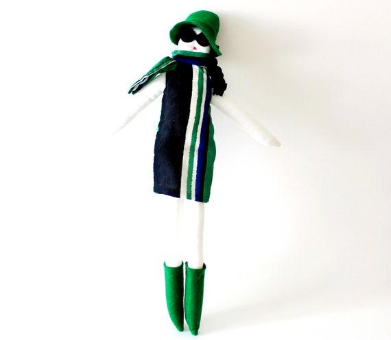 Handmade fabric doll Fulana green blue black and white striped fabric la dolce vita limited edition 16'' art doll kids toy