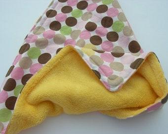 Girly Polka Dots with Yellow Eyelash Minky Security Blanket