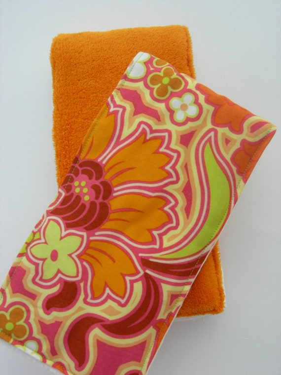 Burp Cloths - Hot Pink, Orange & Lime Floral with Orange Minky (Set of 2)