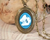 Butterfly Locket Necklace, Photo Locket Butterfly Necklace, Antiqued Brass