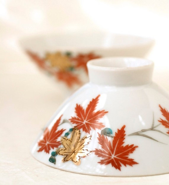 Vintage Japanese Bowls, Chawan Maple Leaf, YY Made in Japan, Fall Momiji Autumn