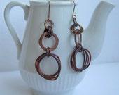 women teens copper earrings-natural oxidized circles