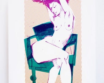 Nude On A Green Chair - Original Screen Print - Female nude - Water based ink - Limited edition