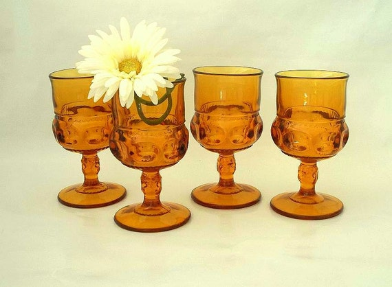 Vintage set Kings Crown, Indiana Glass Thumbprint set of FOUR, glassware, stemware, goblets, wine glasses, 8 ounces, amber, gold, 1960's