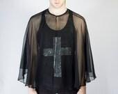 black sheer cloak / caplet / goth witch cape / unisex