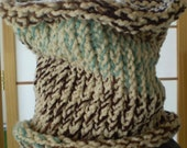 KNITTED SCARF COWL --- Soft Neck Warmer --- Fall Fashion Accessory Earth & Sky Color --- Lightweight Design