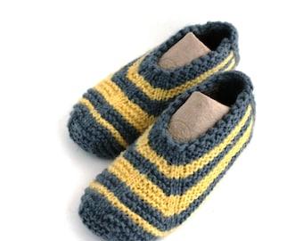 Gray Yellow Wool Women Slippers.